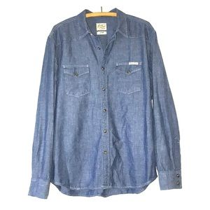 LUCKY BRAND, chambray western button up.